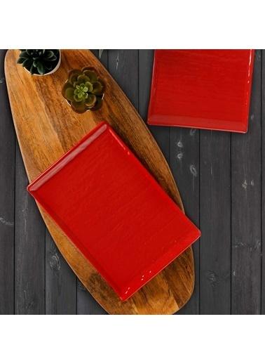Keramika Keramika Kırmızı Doğaltaş Kayık Tabak 25 Cm 2 Adet Renkli